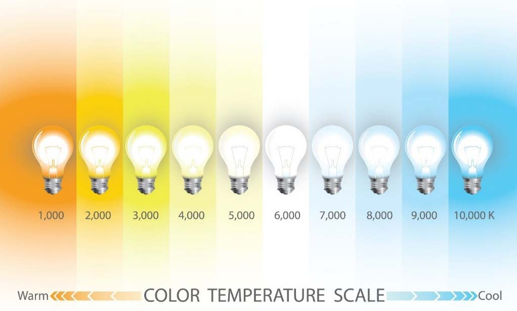 Light bulb color scale from warm to cool