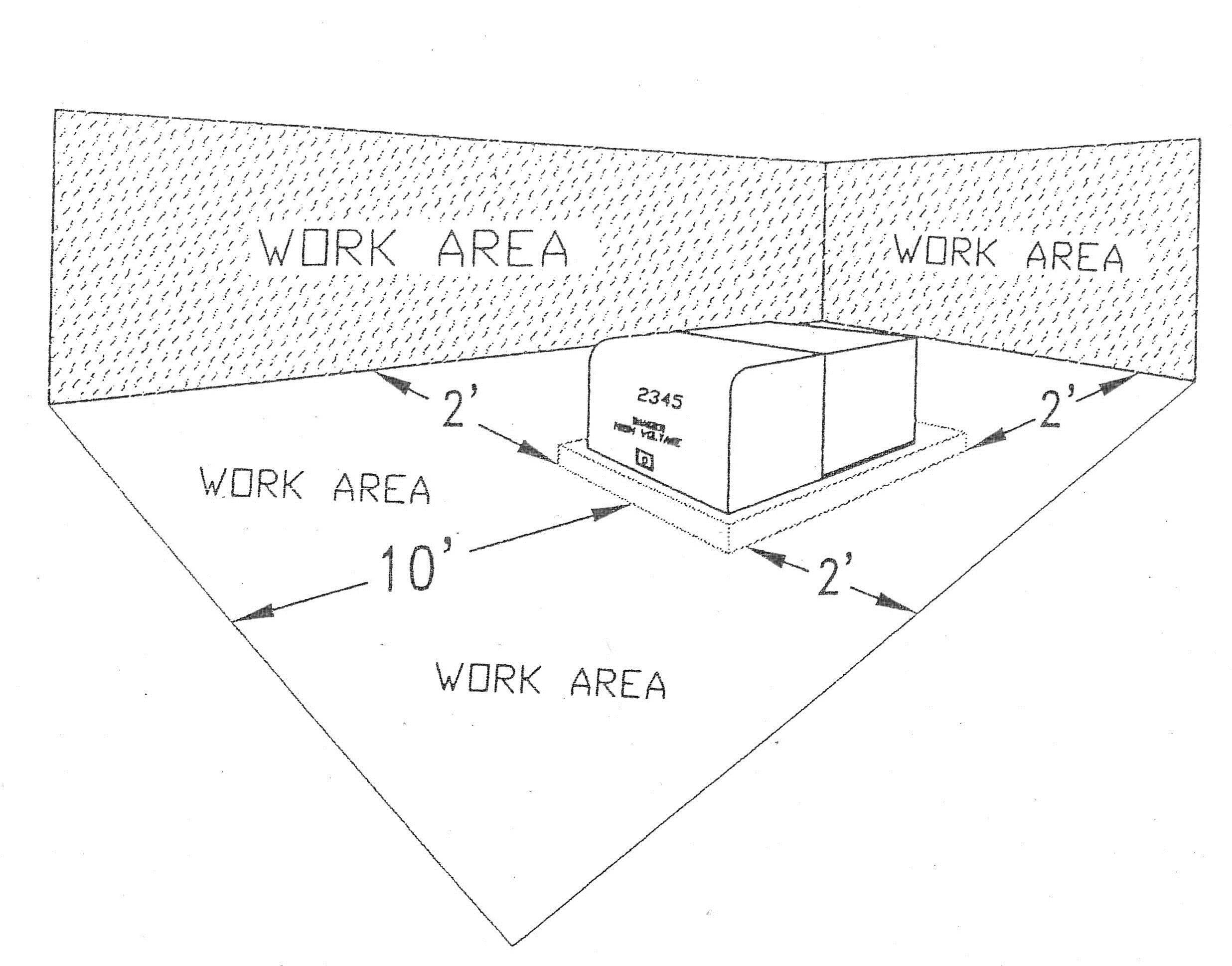 Sketch of work area with measurements to show safe zone